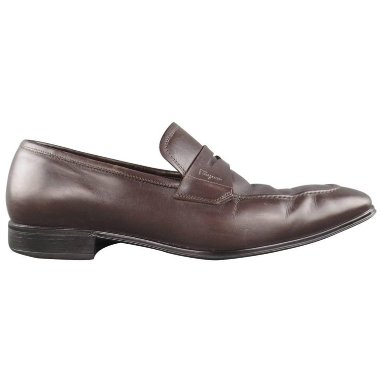 Men's SALVATORE FERRAGAMO Size 8.5 Brown Leather Penny Loafers