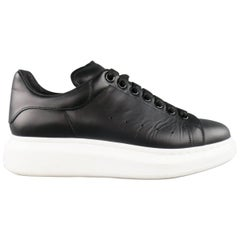 ALEXANDER MCQUEEN 9 Black Leather Thick White Platform Sole Lace Up Sneakers