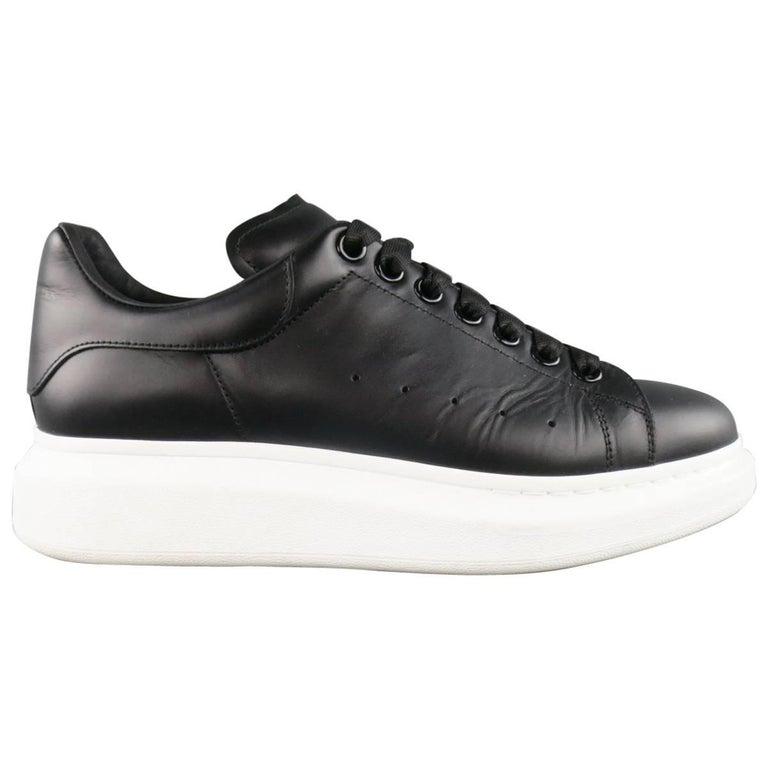 ALEXANDER MCQUEEN 9 Black Leather Thick White Platform ...