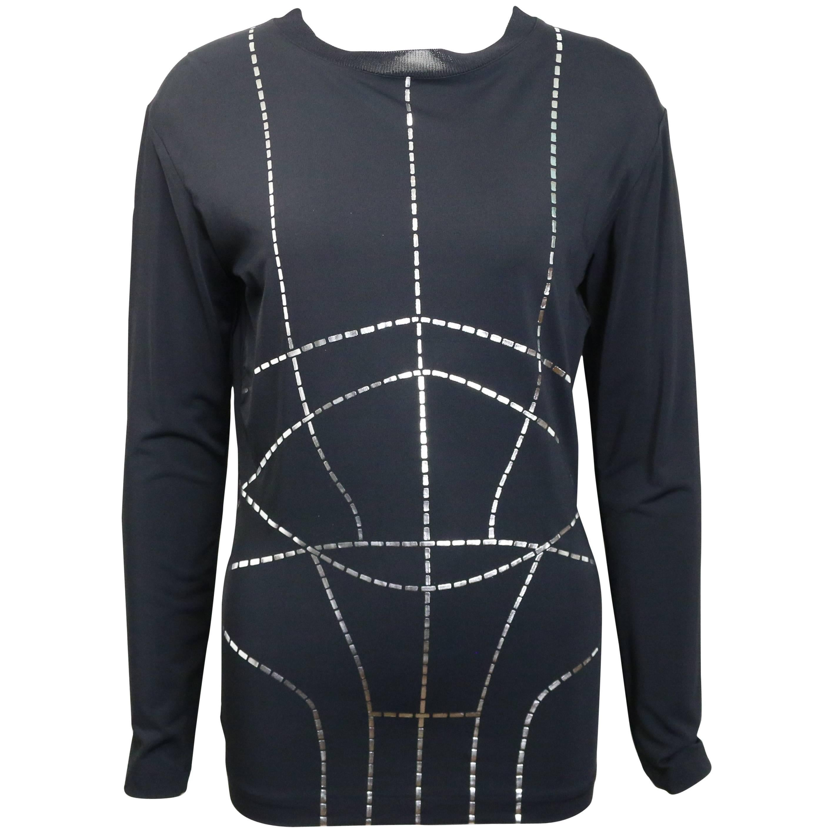 Martine Sitbon Tricot Black with silver metallic linings pattern Pullover Top
