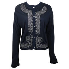 Vintage Martine Sitbon Tricot Black with Silver Sequins Embroidered Cardigan