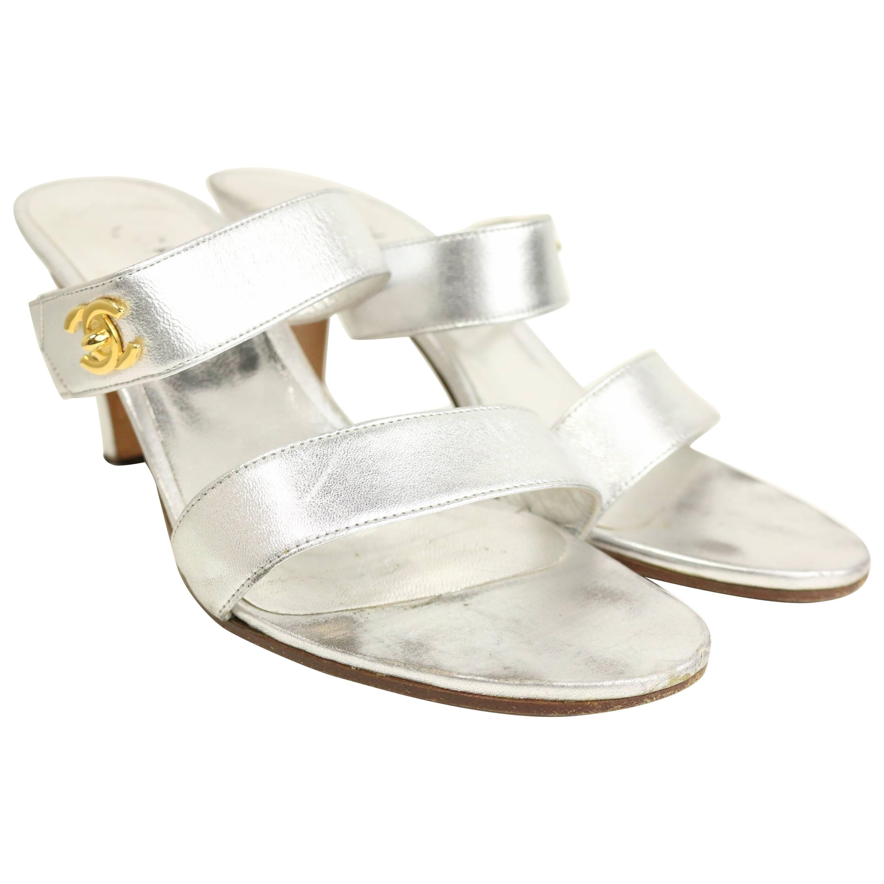 Chanel Silver Metallic Leather Straps Sandals Heels with Gold CC Logo