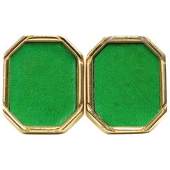 Green Leather Octagon Gold Toned Clip On Earrings