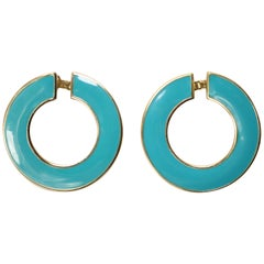 Turquoise Glass Round Earrings