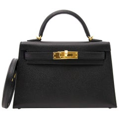 Hermes Mini Kelly Pochette Black Epsom