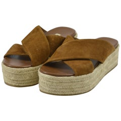 MIU MIU PRADA Brown Suede Leather Espadrille Platform Sandals Mules