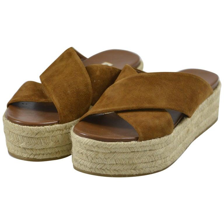 MIU MIU PRADA Brown Suede Leather Espadrille Platform Sandals Mules 1