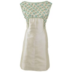 1960s SORELLE CHIOSTRI Italian Couture Ivory Embroidery Cocktail Mod Dress