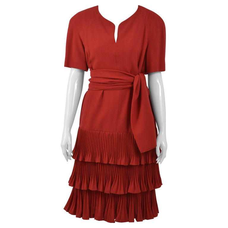 1990s VALENTINO COUTURE Red Pleateds Cocktail Dress