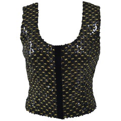 1990s MILA SCHÖN Black and Gold Sequins Blouse Top