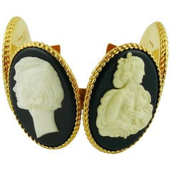 Chanel Vintage Uber Rare Cameo Cuff Bracelet Collector
