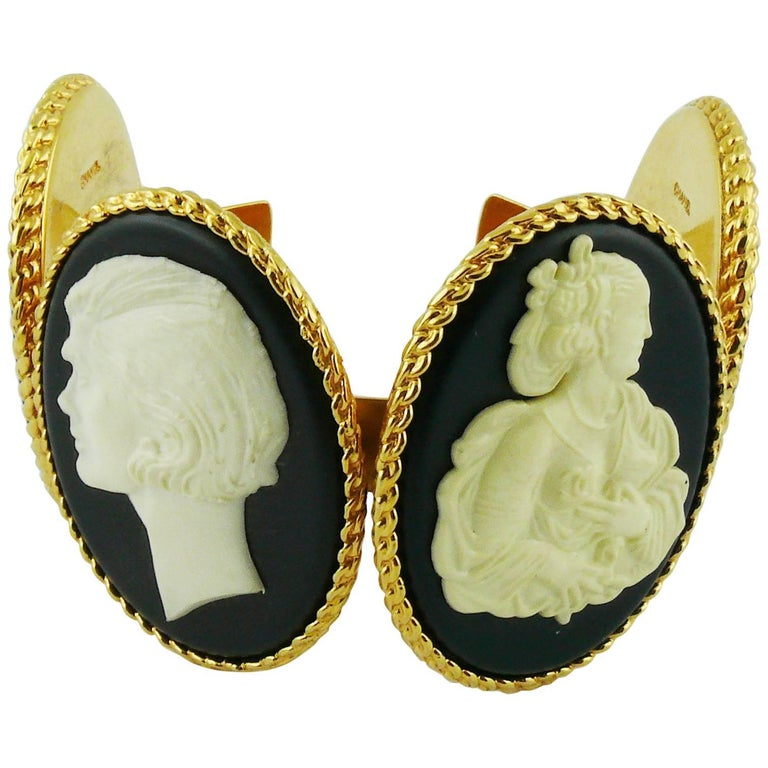 Chanel Vintage Uber Rare Cameo Cuff Bracelet Collector For Sale