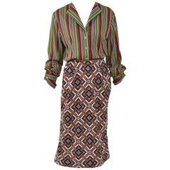 1970s ROBERTA DI CAMERINO Striped and Mosaic Print Jersey Dress