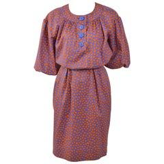 1980s YVES SAINT LAURENT Rive Gauche Abstract Print Cotton Dress