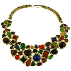 Edouard Rambaud Vintage Multicolored Poured Glass Bib Necklace