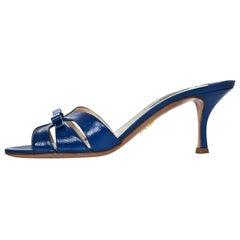 Prada Blue Glazed Leather Mules Sz 37 with Box