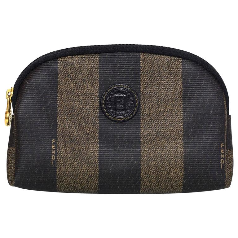 37fc93ac0bf Fendi Brown and Black Vintage Pequin Stripe Toiletry Bag/Pouch For Sale