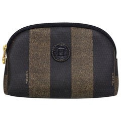 Fendi Brown and Black Vintage Pequin Stripe Toiletry Bag/Pouch