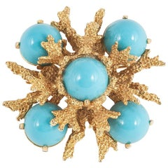 Lucite and rusticated gilt 'sealife' brooch, Pauline Rader, 1960s
