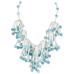 Frosted white and blue bead necklace , Langani, 1960s