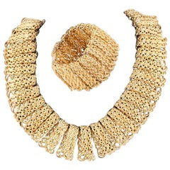 Mosell NYC Egyptian style gilt collar and bracelet, 1960s