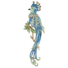 Dramatic enamel and gilt 'parrot' fur clip, Coro, 1940s