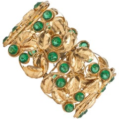 Unusual 1940s gilt and paste panneled leaf bracelet