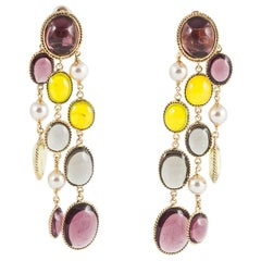 WW poured glass/gilt 3 strand 'Harlequin'  drop earrings.
