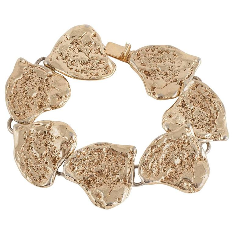 Yves Saint Laurent rusticated gilt metal 'hearts'  bracelet, 1980s For Sale