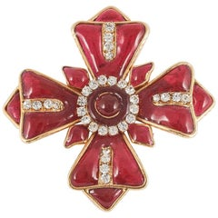 Poured glass brooch in the form of a Maltese Cross, Chanel, 1980s