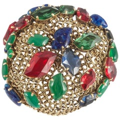 Multi coloured jewelled brooch, signed and dated 'Christian Dior 1962'.
