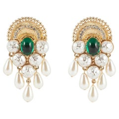 Spectacular gilt, paste and faux pearl earrings, Mosell, 1960s