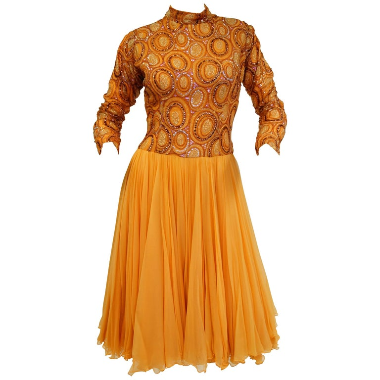 1960s Tangerine Sequin Dream Cocktail Dress