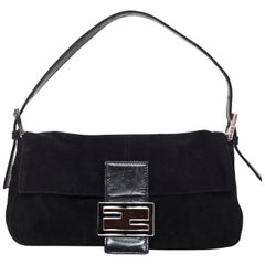 Fendi Black Suede Baguette Shoulder Bag