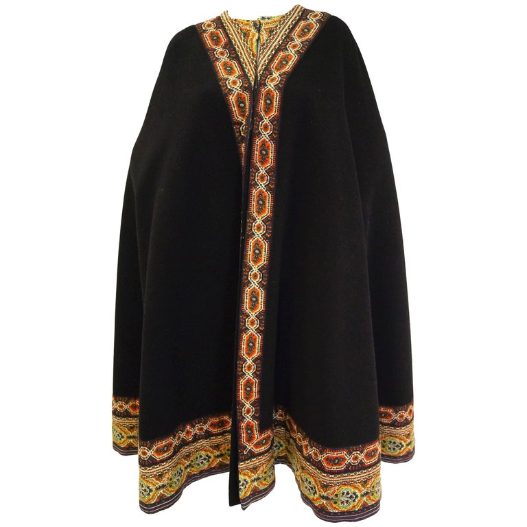 1960s Oscar de La Renta Bohemian Trim Wool Cloak  For Sale