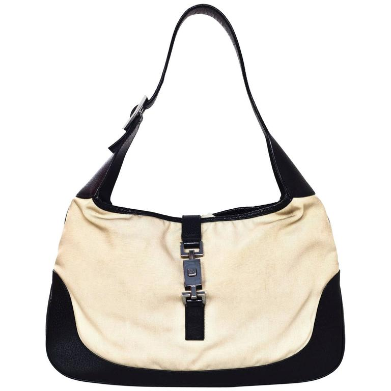 7b0c82ce9787 Gucci Black Leather and Beige Canvas Jackie-O Bag at 1stdibs