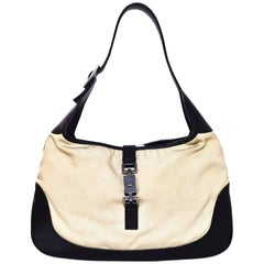 Gucci Black Leather and Beige Canvas Jackie-O Bag