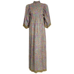 1970 Thea Porter Couture Metallic Embroidered Floral Silk Flutter-Sleeve Dress