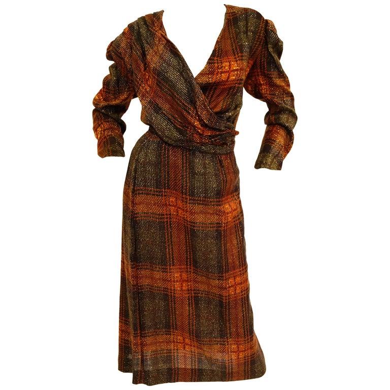 1980s Becky Bisoulis Plaid Drape Skirt Set
