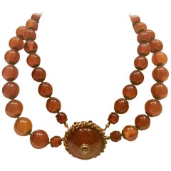 Miriam Haskell Amber & Russian Gold Glass Bead Choker Necklace