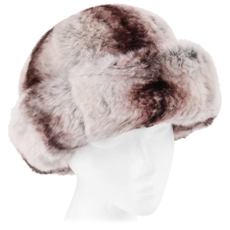 964b112030f CHRISTIAN DIOR Chapeaux c.1960 s MARC BOHAN Chinchilla Fur Bumper Hat For  Sale