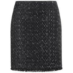 CHANEL Cruise 2013 Classic Black & White Signature Ribbon Tweed Skirt RARE
