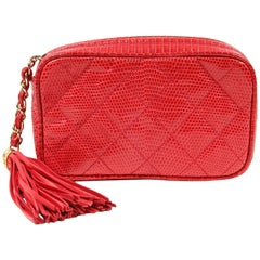 Chanel Vintage Lizard Tassel Clutch- Braise Red