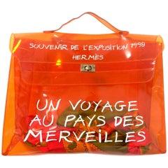 Vintage Hermes transparent orange vinyl Kelly bag Japan Limited Edition. Rare.