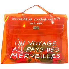 Vintage Hermes transparent orange vinyl Kelly bag Japan Limited Edition. Rare.