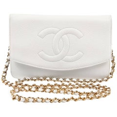 Chanel White Caviar Leather WOC Wallet on a Chain
