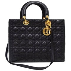 Christian Dior Lady Dior 12.5 inch Black Quilted Cannage Leather Shoulder Bag