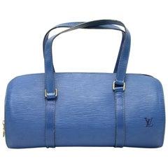 Vintage Louis Vuitton Soufflot Blue Epi Leather Hand Bag