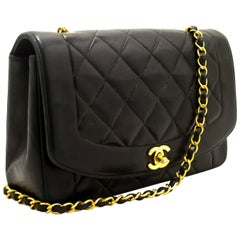 CHANEL Chain Shoulder Bag Crossbody Black Quilted Single Flap Lamb