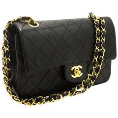 "CHANEL 2.55 Double Flap 9"" Chain Shoulder Bag Black Lambskin"